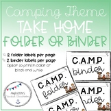 Back to School Camping Themed Take home folder/Binder