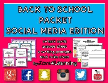 Back to School Task Card Packet Social Media Edition