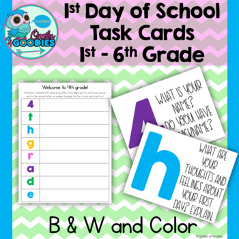 Back to School Task Cards 1st - 6th Grade