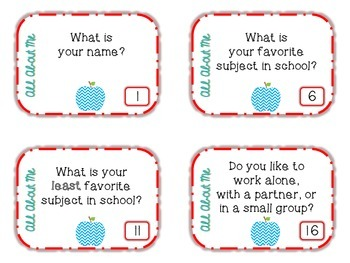 Back to School Task Cards: All About Me