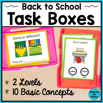 Back to School Task Cards for Special Education and Autism - Basic Concepts