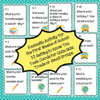 Back to School Task Cards-All About Me and Bonus Printables & Partner Activity