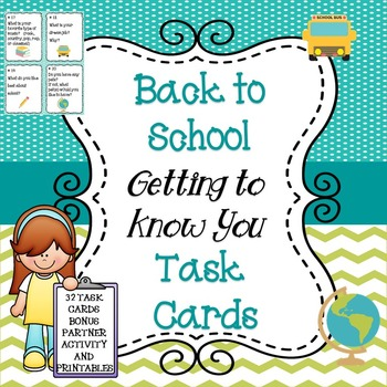 Back to School Task Cards-All About Me and Bonus Printable