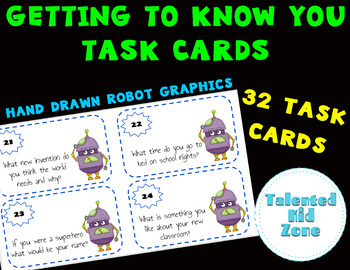 #ChristmasinJuly Back to School Task Cards Robot Graphics