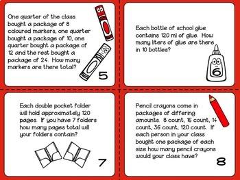 BACK TO SCHOOL MATH TASK CARDS: SEMI EDITABLE (ONTARIO CURRICULUM)