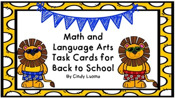 Back to School Task Cards for Math and Language Arts