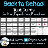 Back to School Task Cards for the Secondary ELA Classroom