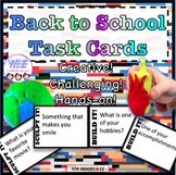 Back to School Task Cards, icebreaker, hands-on, LEGOS, clay