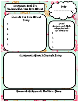 Back-to-School: Teacher Assignment Book for Absent Students