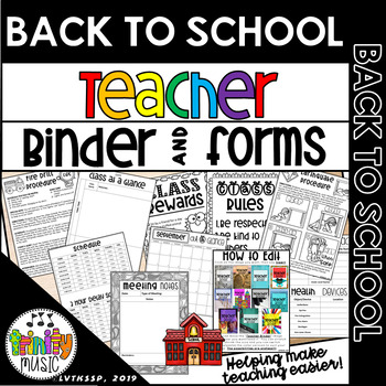 Back to School Teacher Binder and Forms (Print & Go, Editable PowerPoint & PDF)