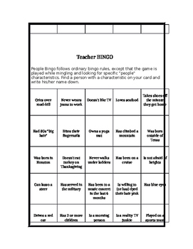 Back to School Teacher Bingo