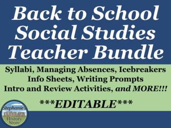 Back to School Social Studies Teacher Bundle
