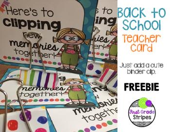 Back to School Teacher Card - FREEBIE