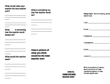 Back to School Teacher Creative Writing Activity