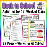Middle School Back to School Activities - First Days of School Starter Packet