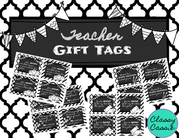 Back to School Teacher Gift Tags {Black & White}