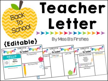 Back to School Teacher Letter (Editable)
