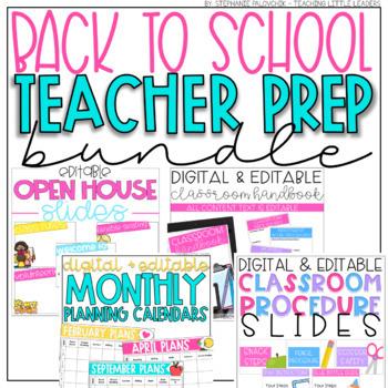 Back to School Teacher Prep Bundle (Editable)