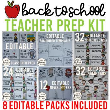 Back to School Teacher Prep Kit {FULLY EDITABLE}