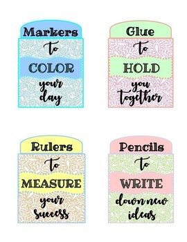 Back to School Teacher Survival Kit Labels - Welcome Tags
