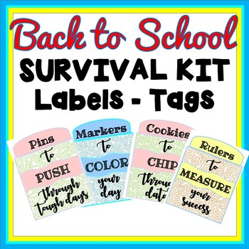 Back to School Teacher Survival Kit Labels - Gift Tags - Welcome Tags