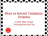 Back to School Teacher Team Coupon Book