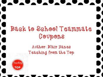 Back to School Teacher Team Coupon Book