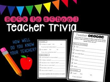 Back to School Teacher Trivia