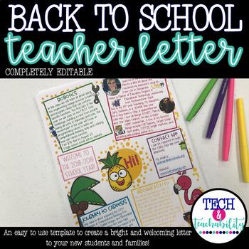 Back to School Teacher Welcome Letter! Editable!