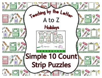 Back to School ~ Teaching by the Letter Holiday Strip Number Puzzles