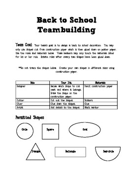 Back to School Teambuilding Project