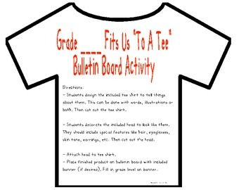 Writing- Tee Shirt Bulletin Board Activity