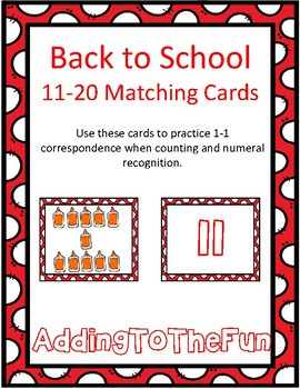 Back to School Teen Number Matching Cards