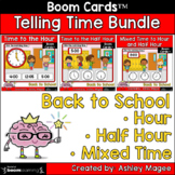 Back to School Telling Time Boom Card Bundle Time to Hour,