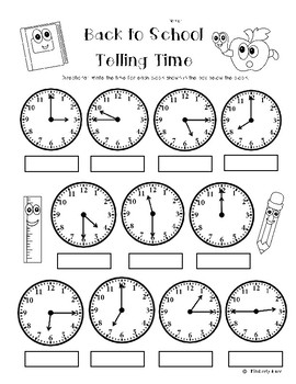 Back to School Telling Time (to the quarter hour) Practice Worksheet