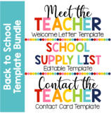 Back to School Template Bundle - Welcome Letter, Supply List, & Contact Cards