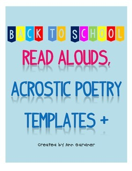 Back to School Acrostic Poem Template Collection and Book List