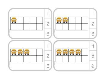 Back to School Ten Frame Clip Cards:  School Bus