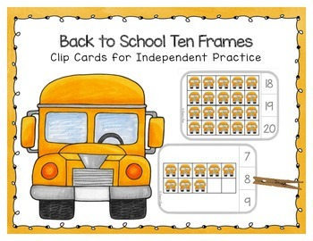 Back To School Ten Frame Clip Cards School Bus By Sharon Oliver