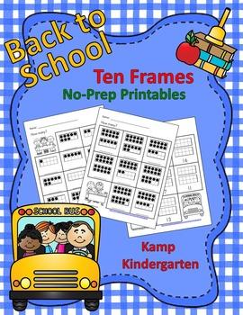 Back to School Ten Frames No-Prep Printables (Quantities to 20)