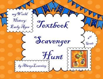 "Back to School Textbook Scavenger Hunt: ""myWorld History E"