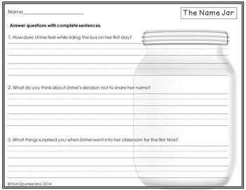 The Name Jar Literacy Activities