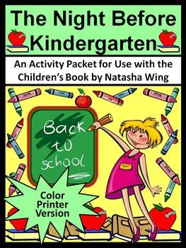 Back to School Activities: The Night Before Kindergarten Activity Packet