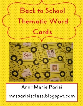 Back to School Thematic Word Cards FREEBIE