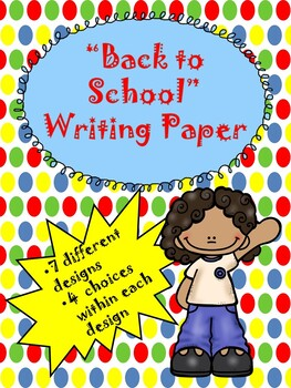 Back to School Thematic Writing Paper...Fun Comtemporary Colors