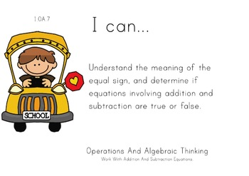 Back to School Theme 1st grade math Common Core Posters fi
