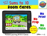Addition BOOM CARDS™  | Sums to 10 | Back to School Theme