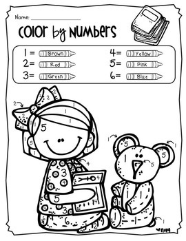 by Number Coloring Pages Back to School Theme Pre K to 1st
