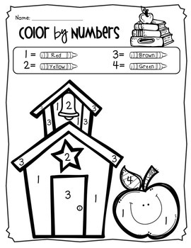 Color By Number Coloring Pages Back To School Theme Pre K To 1st