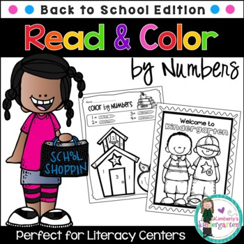 Color by Number + Coloring Pages, Back-to-School Theme. Pr